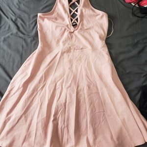 Blush pink halter style Express dress sz small